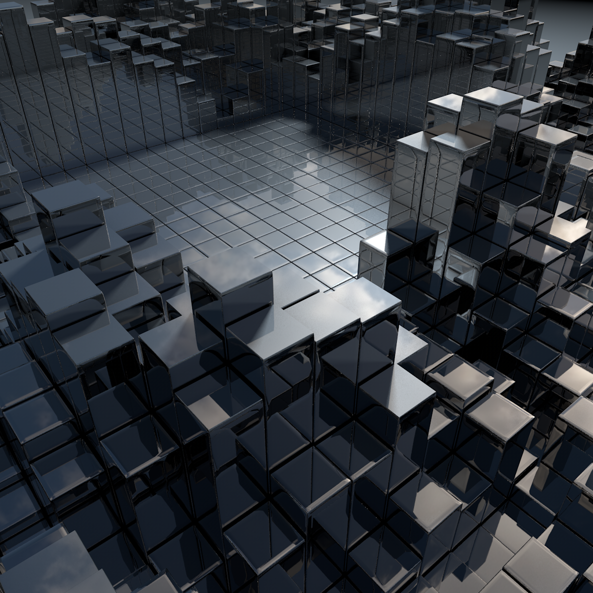 Cubes (Basic mograph, Cinema 4D Physical renderer)
