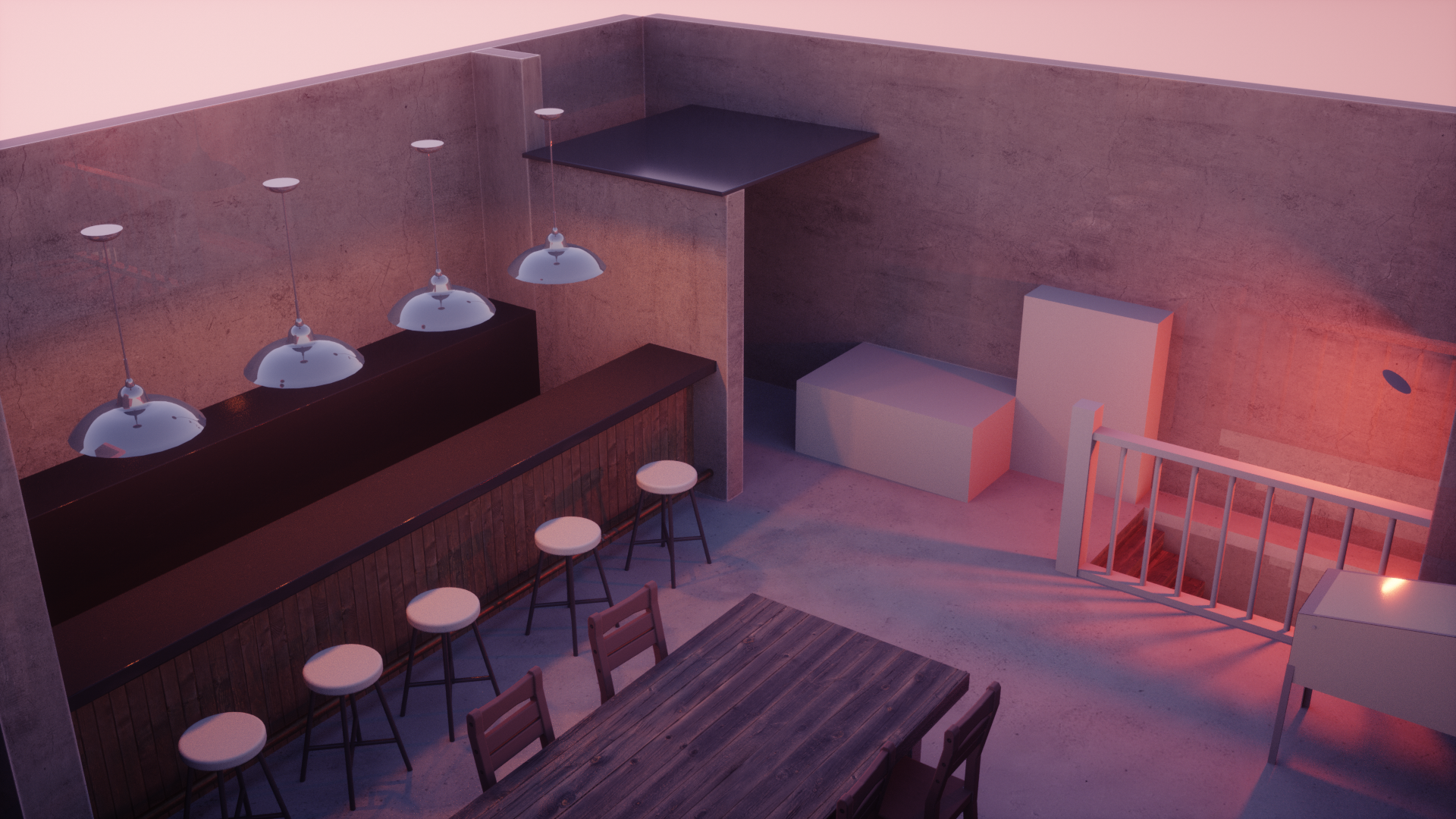 J's Bar (Anime style scene design, Octane Render)