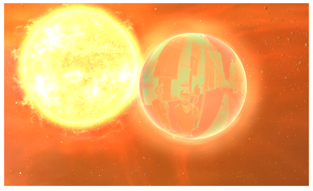 Sun flare affecting a planet