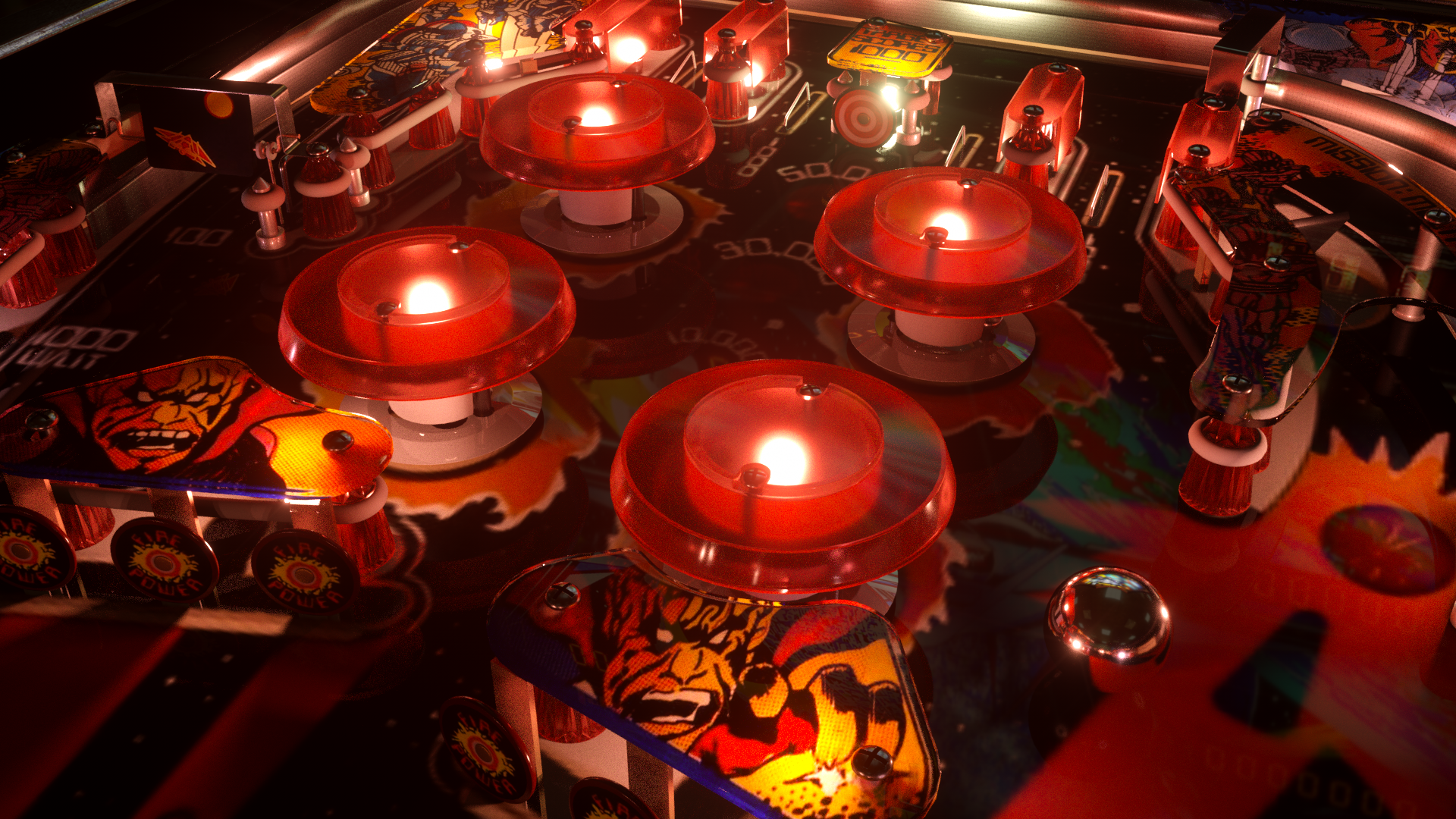 Pinball machine shading: plastic